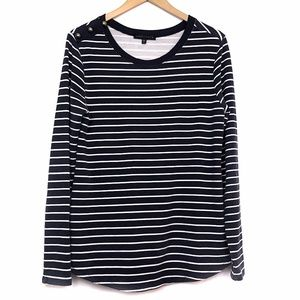 SANCTUARY Navy Blue White Striped Long Sleeve Top